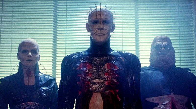 Screenshot from the 1987 horror fantasy film Hellraiser, starring Andrew Robinson, Clare Higgins and Ashley Laurence. Directed by Clive Barker.