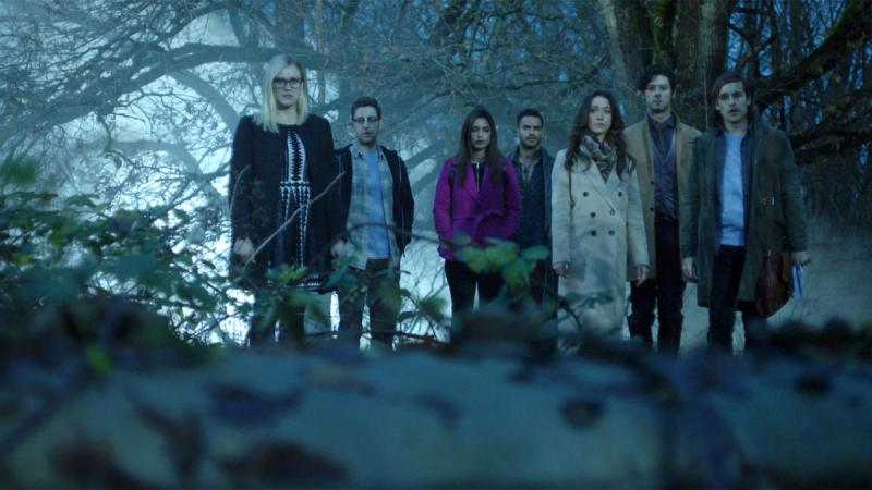 Pictured here are the core group of lead characters from the 2017 Netflix and Syfy show, The Magicians.