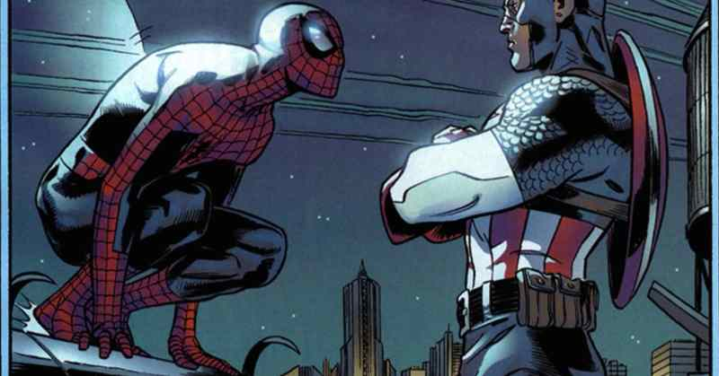 Pictured: a panel from a comic book depicting Spider-Man talking to Captain America.