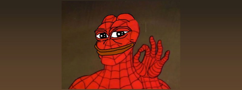 Pictured: Spider-Man as Pepe The Frog, doing an Alt-Right/white supremacist hand signal. Pepe The Frog is an internet meme that has been appropriated by the Alt-Right political movement.