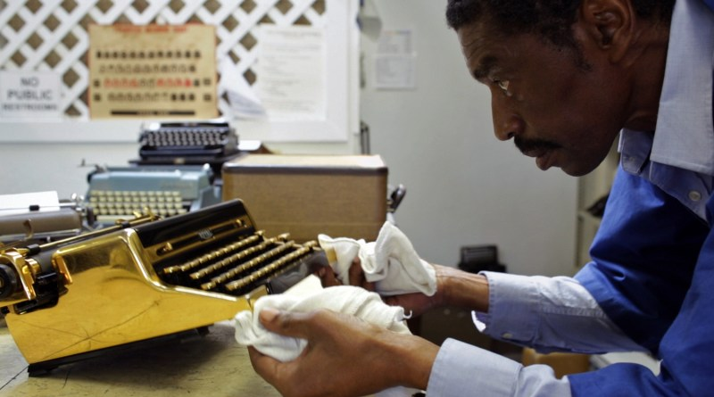 Pictured: Ken Alexander, a typewriter technician in a scene from the 2017 Doug Nichol documentary, California Typewriter.
