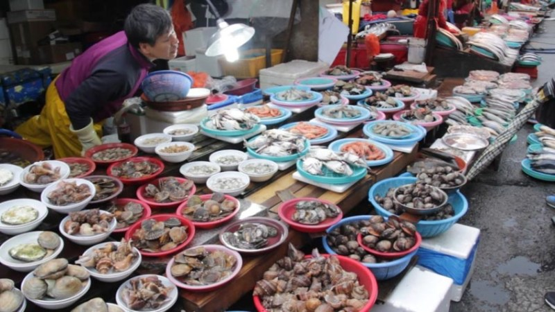 A table covered with many varieties of seafood.