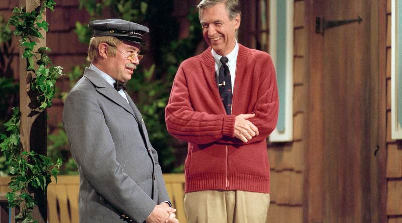Fred Rogers and Mr McFeely in a scene from the 2018 documentary, Wont You be My Neighbor?