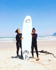 Sonakshi and I learning how to surf in Muizenberg!