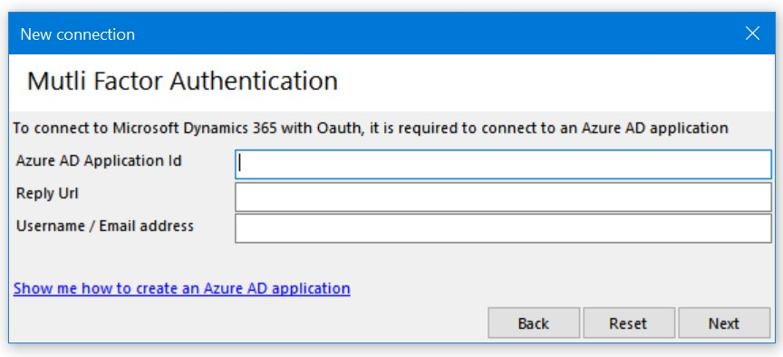 Multi Factor Authentication dialog box in Xrm ToolBox
