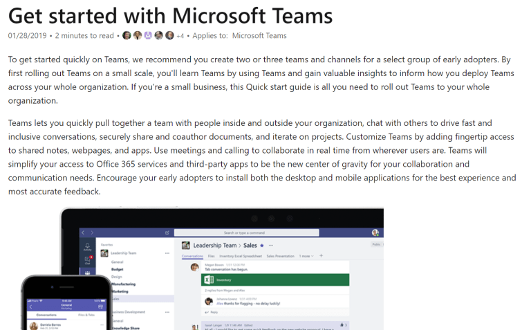 Microsoft Teams: Getting Started Guide from https://docs.microsoft.com/en-us/microsoftteams/get-started-with-teams-quick-start