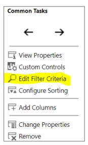 Edit filter criteria