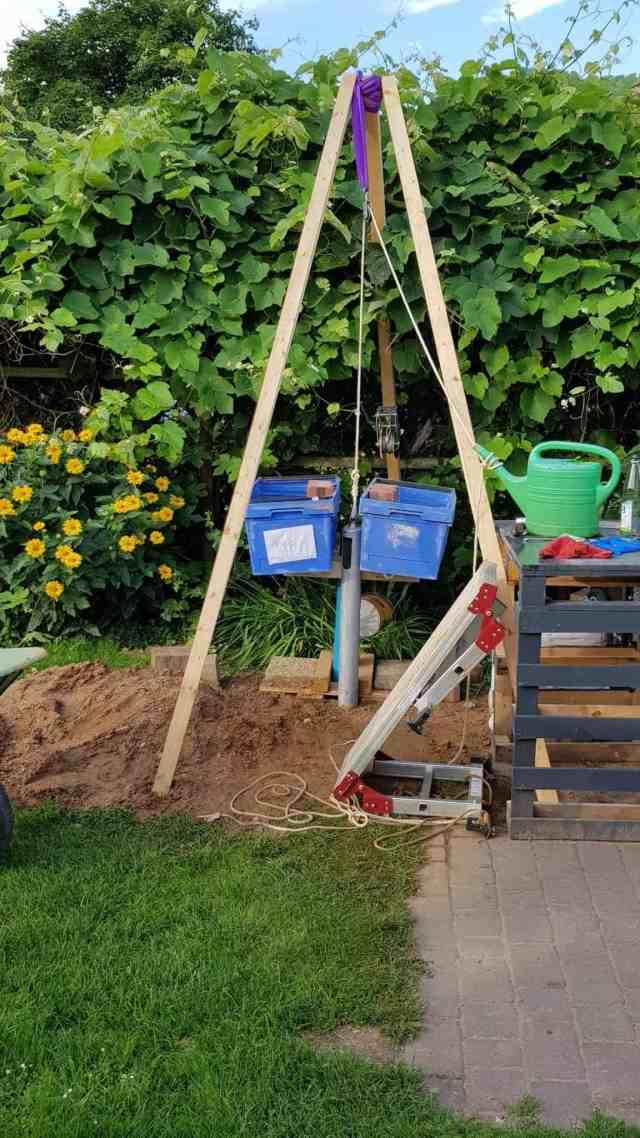 Brunnen bohren dreibein kiespumpe kiesbüchse plunschen