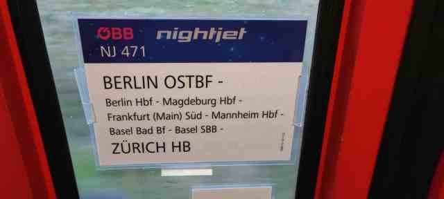 Nightjet Berlin Zürich