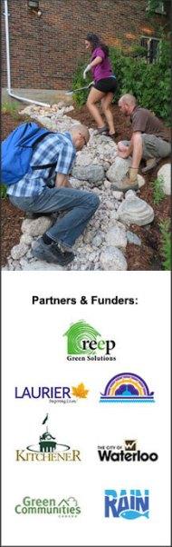 Rain garden construction at Aboriginal Student Centre with workshop partner logos