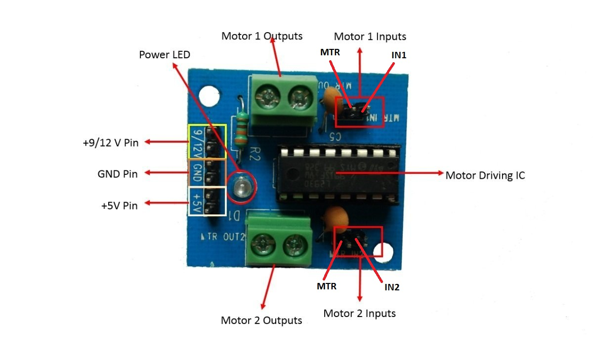 Simple Schematic For Interfacing A Dc Motor Using L293d