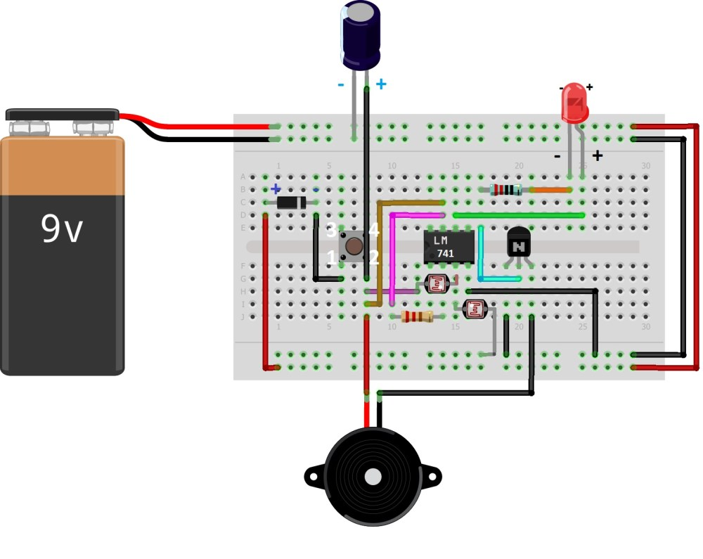 medium resolution of lm 741 ic connected to the breadboard