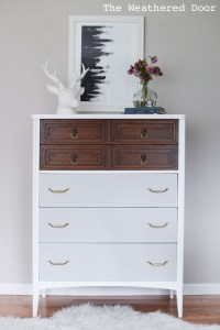 Tall and Modern Mid Century Dresser in White, Wood & Grey ...