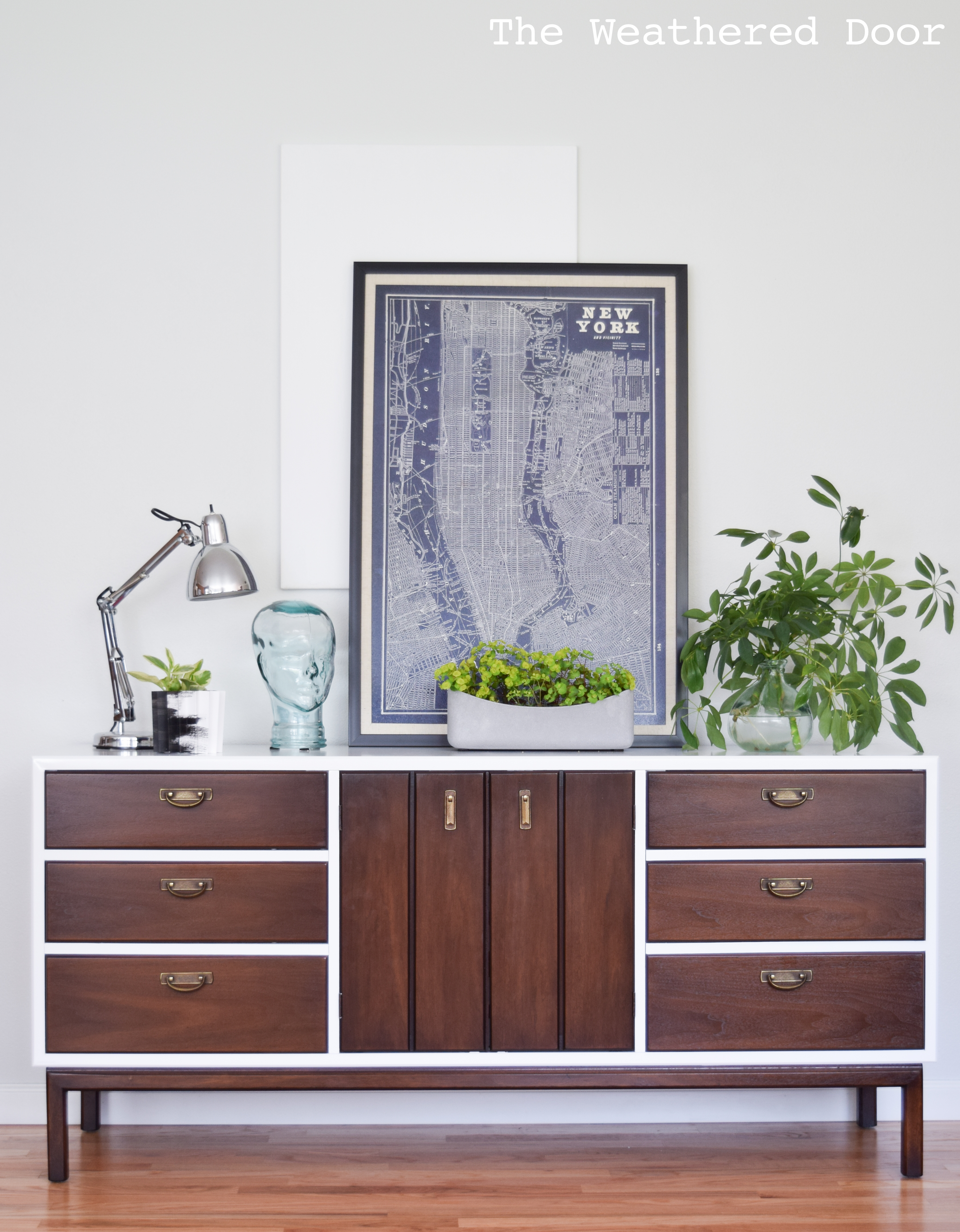 broyhill premier credenza with geometric drawers WD-16