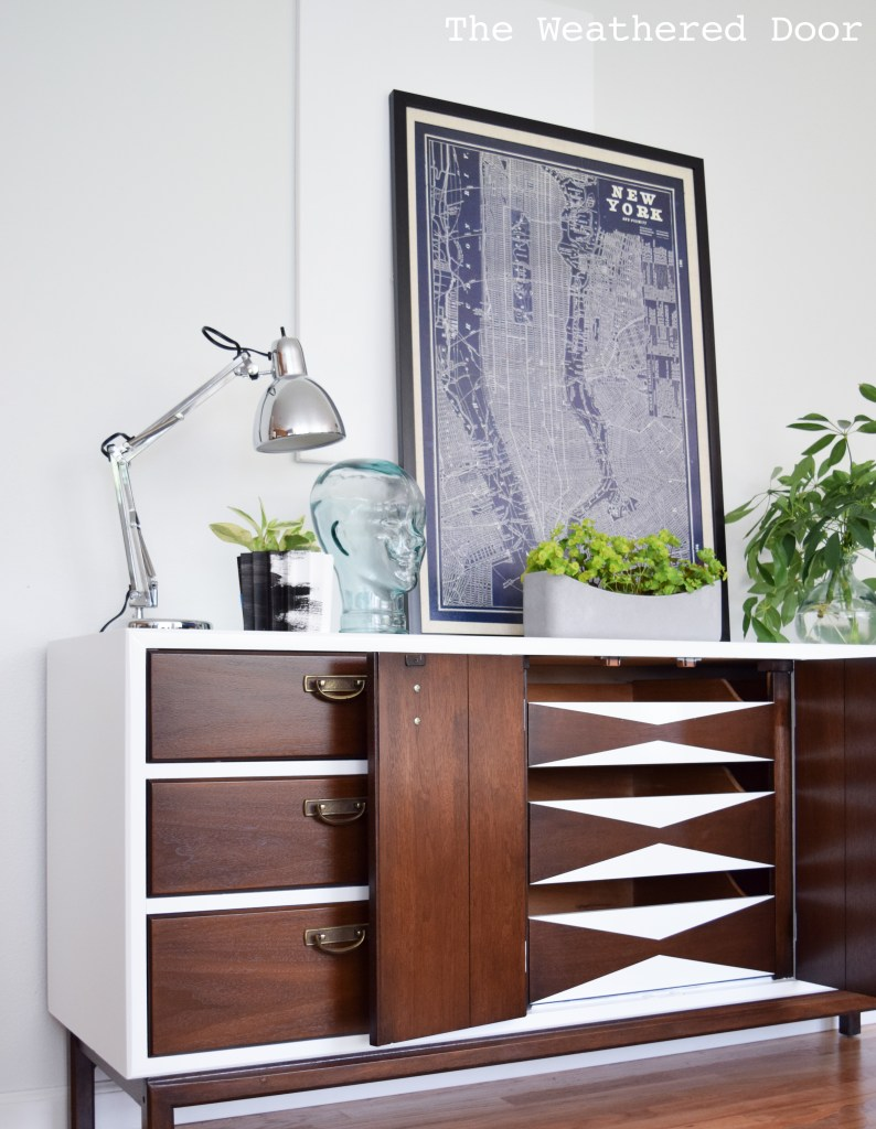 broyhill premier credenza with geometric drawers WD-24