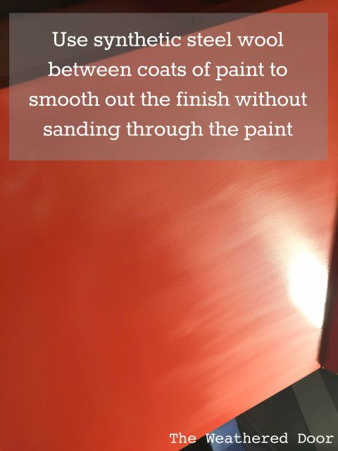 Benjamin Moore Advance Waterborne Alkyd Paint Review- use synthetic steel wool between coats to smooth out the finish without sanding through the paint WD