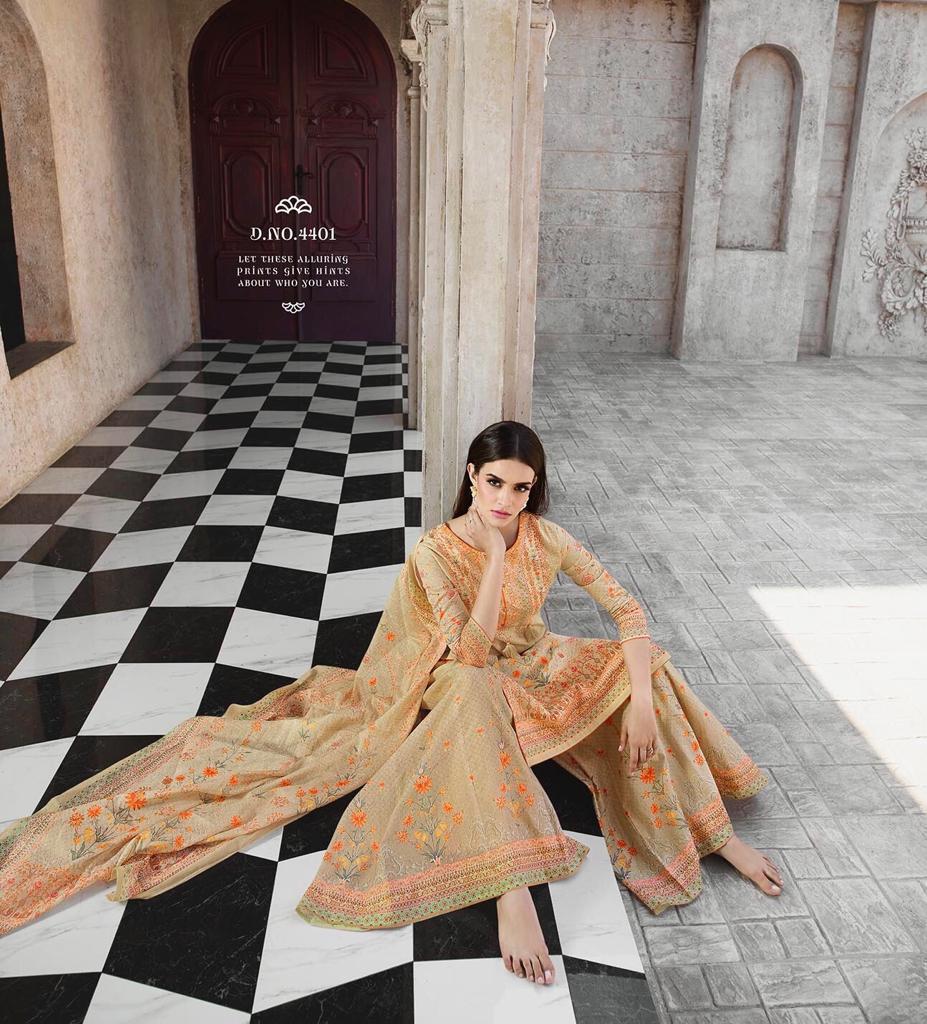 Glossy Simar Marigold 4401 4408 Series Palazzo Style Hand