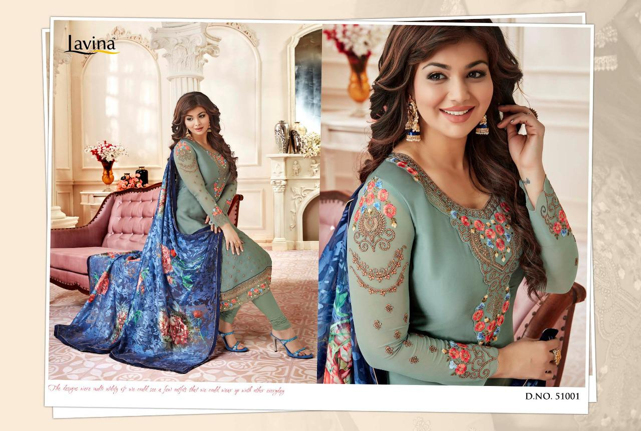 ac51c531ea LAVINA VOL 51 SATIN GEORGETTE SALWAR SUIT WITH BRASSO DUPATTA WHOLESALE