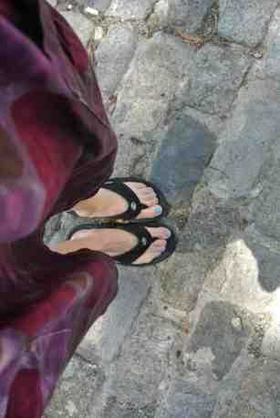 Walking amongst the cobblestones!  :)