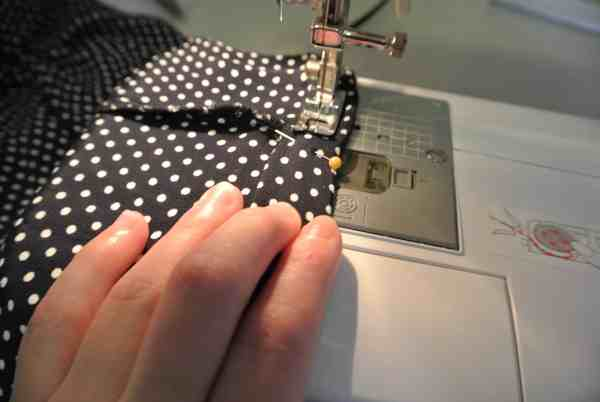 sewing new top of dress
