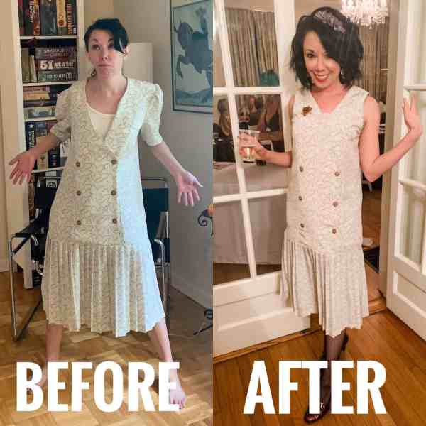 refashionista before after 20s dress