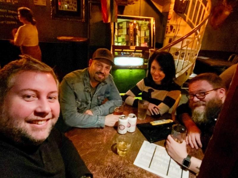 refashionista in dachshund sweater with friends