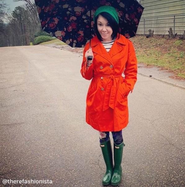 thrift store style refashionista vintage orange trench coat