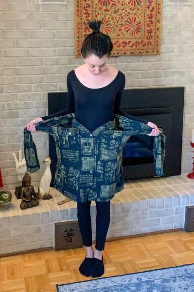 refashionista button up shirt to skirt tutorial shirt sleeves