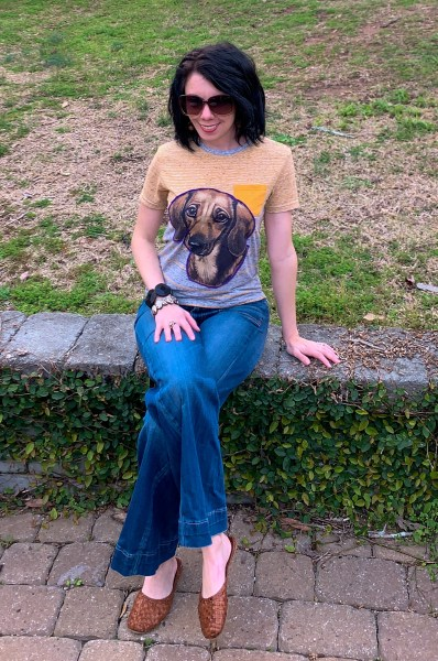 Upcycled dachshund applique t-shirt