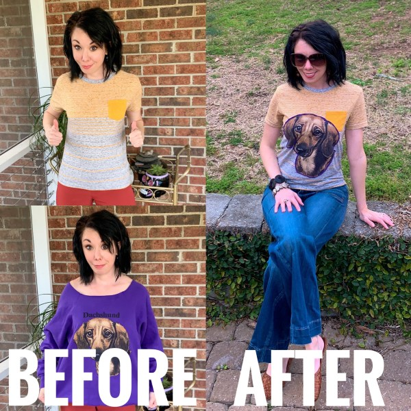 A Darling Dachshund Applique T-Shirt Refashion Before & After