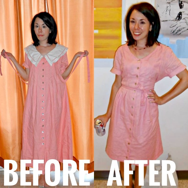 Refashionista '90s Collared Dress Refashion Before & After