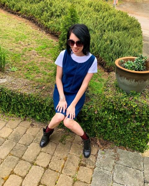 refashionista denim dress after sitting