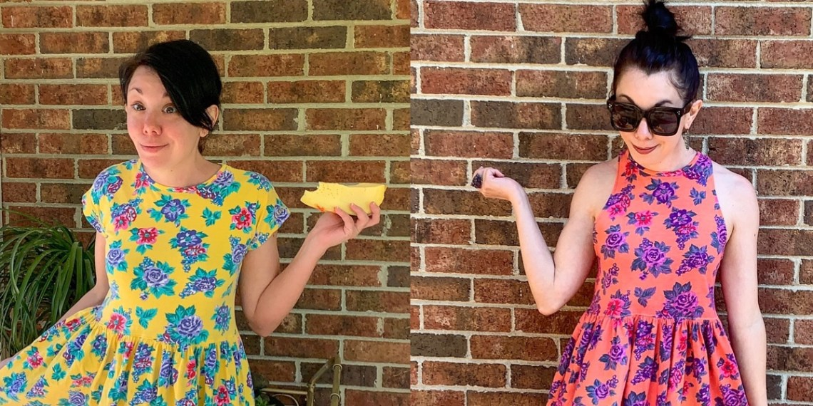 An Overdyed Floral Halter Dress DIY Refashion 1