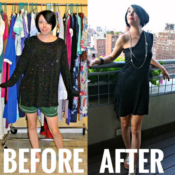 refashionista A Long Sleeve Shirt to Cocktail Dress Refashion: As Seen on Good Morning America before and after