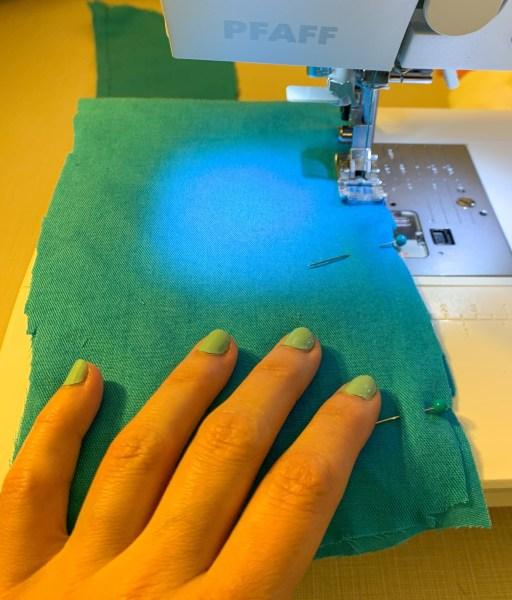 stitching down part of sash