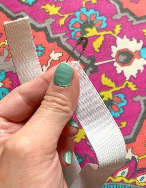 safety pin for threading elastic through skirt waistband
