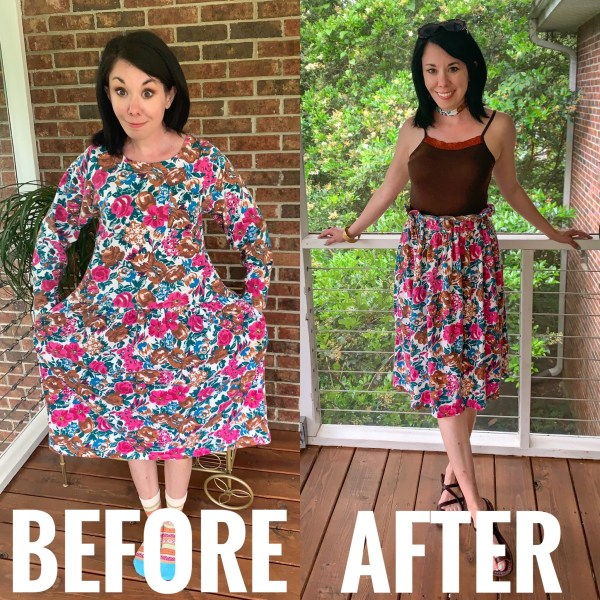 Refashionista Dress to Elastic Waist Skirt DIY Before and After