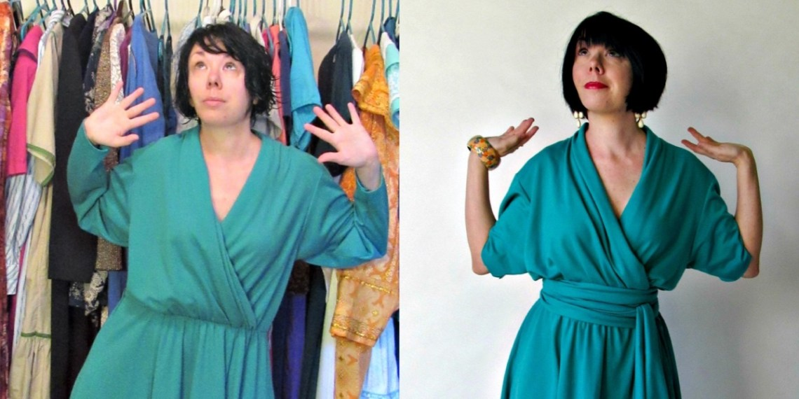 A No-Sew Thrift Store Dress Upcycle 1