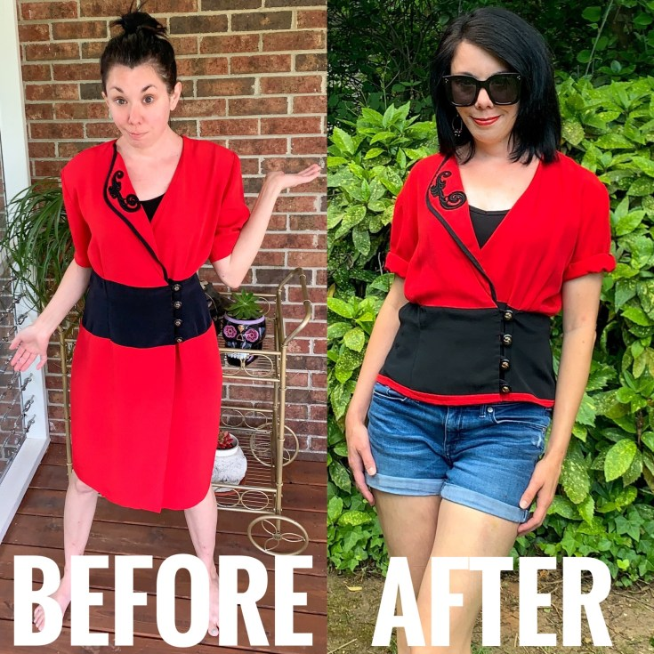 How to Turn a Thrifted Dress into a Top Before and After Image