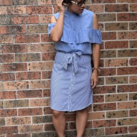 Button up shirt to belted skirt #refashion