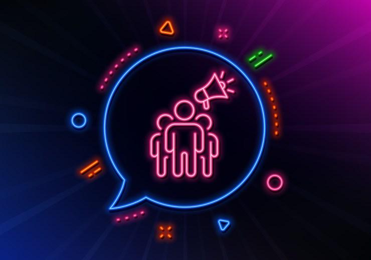 Brand,Ambassador,Line,Icon.,Neon,Laser,Lights.,Holding,Megaphone,Sign.