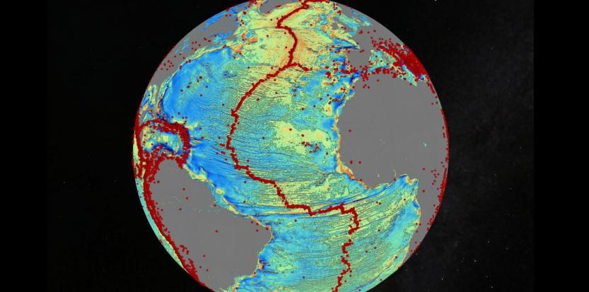 Carte des fonds marins de l'Atlantique Nord, Les points rouges représentent les séismes >5,5 sur l'échelle de Richter. David Sandwell, Scripps Institution of Ocean ography