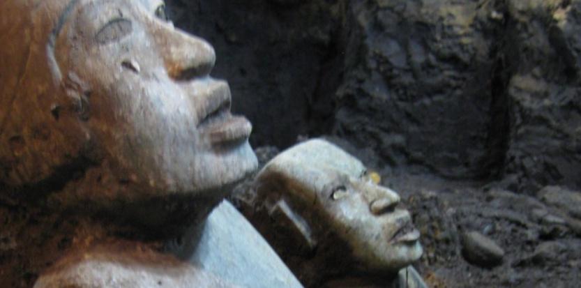 Deux incroyables sculptures vieilles de deux millénaires découvertes à Teotihuacan. ©Sergio Gomez/Inah
