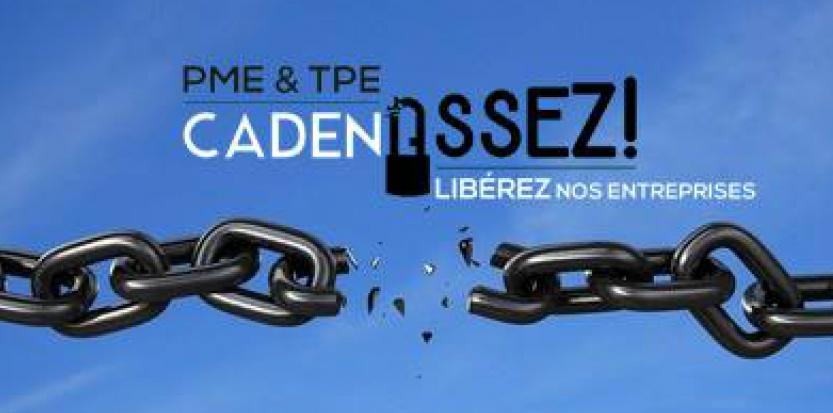 """Entre 2.000 et 3.000 personnes sont attendues à Paris, et 1.500 à Toulouse, derrière le slogan """"PME/TPE CadenASSEZ !"""" (page Facebook PMEcadenASSEZ)."""