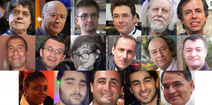 Les 17 victimes des attentats perpétrés par trois djihadistes autoproclamés à Paris en janvier 2015. (AFP/SIPA/DR)