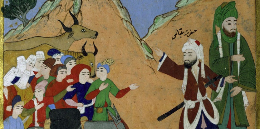 """Détail du """"Miracle des abeilles"""", enluminure (Constantinople, vers 1594-1594) pour le sultan Mourad III. (Erich Lessing/AKG-IMAGES)"""