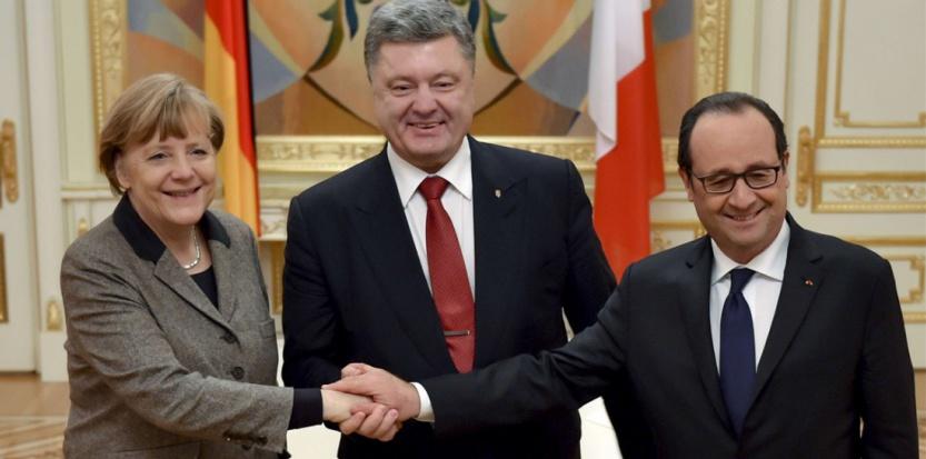 La chancelière allemande Angela Merkel, Petro Porochenko et François Hollande. (Sipa)