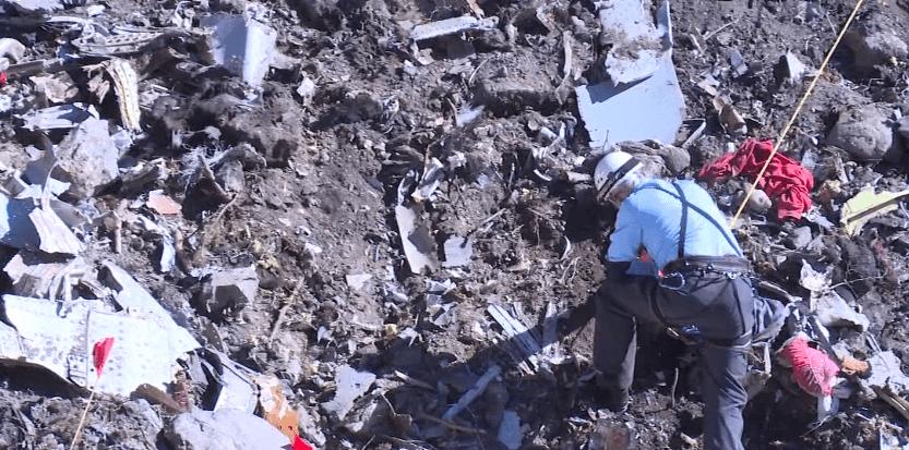 Sur la zone du crash de l'A320 de la Germanwings (Ministère de l'Intérieur)