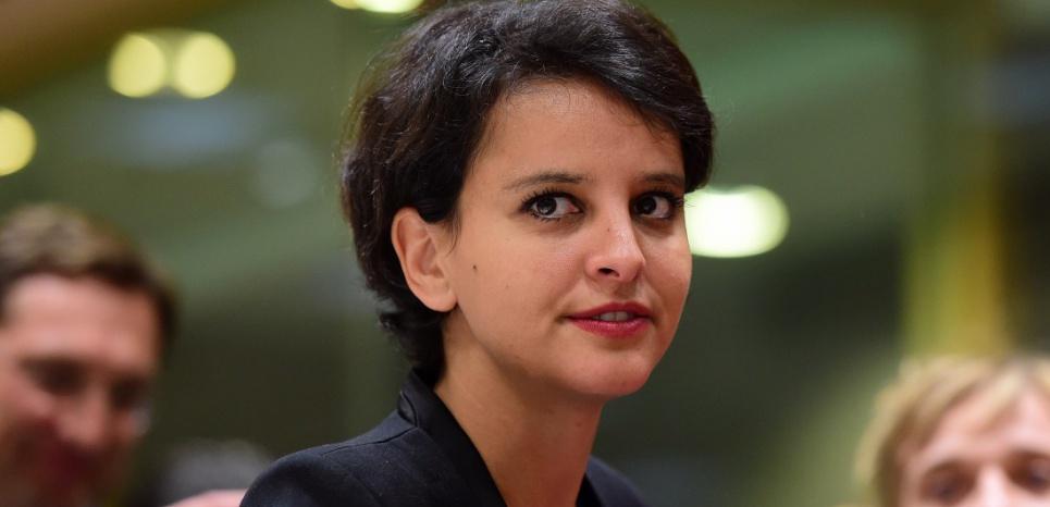 Najat Vallaud-Belkacem, en Belgique le 18 mai 2015. (EMMANUEL DUNAND / AFP)