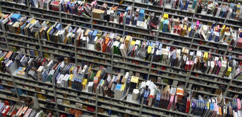 Dans les rayons d'un entrepôt Amazon, en Allemagne). (AFP / DDP / JENS ULRICH KOCH)